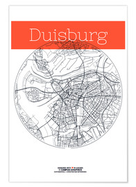campus graphics - Duisburg map city black and white