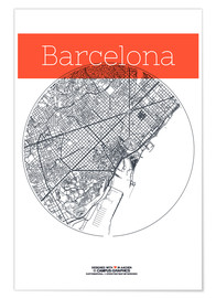Poster  Barcelona Card City Black and White - campus graphics