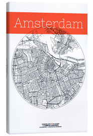 Tela  Amsterdam map city black and white - campus graphics