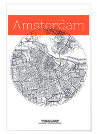 Poster  Amsterdam map city black and white - campus graphics