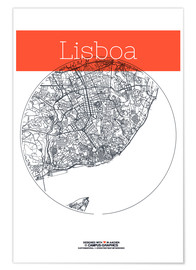 Poster  Lisbon map city black and white - campus graphics