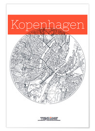 Poster  Copenhagen map city black and white - campus graphics