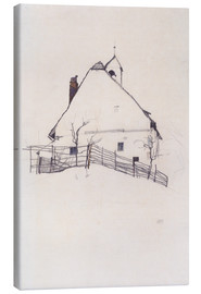 Tela  Residential house with fence - Egon Schiele