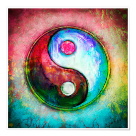 Poster Premium Yin Yang - Colorful Painting 4