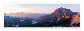 Poster Premium Aerial drone view over valley, Dolomites