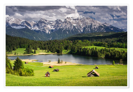 Poster Premium Karwendel mountains with lake in the Alps