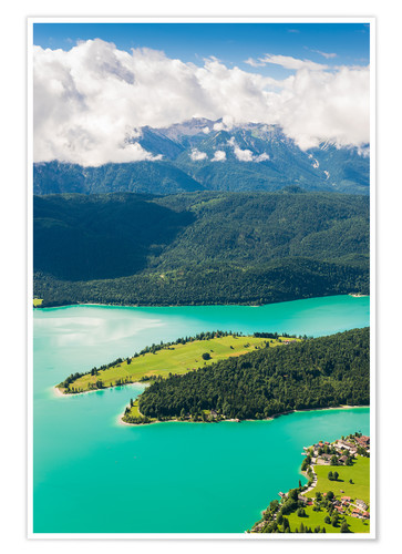 Poster Premium Walchensee from above