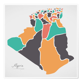Poster Premium Algeria map modern abstract with round shapes