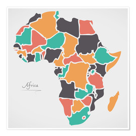 Poster Premium Africa map modern abstract with round shapes