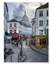 Poster Premium  Streets of Montmartre and Sacre Coeur - Jan Christopher Becke