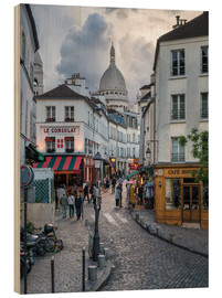Stampa su legno  Streets of Montmartre and Sacre Coeur - Jan Christopher Becke