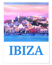 Poster Premium  Retro Poster Ibiza Old Town and Harbour Pearl Of the Mediterranean - M. Bleichner