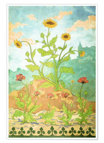 Poster Premium Sunflowers and Poppies