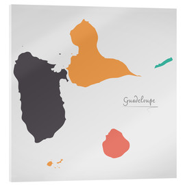 Stampa su vetro acrilico  Guadeloupe map modern abstract with round shapes - Ingo Menhard