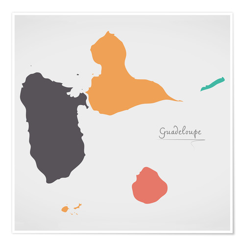 Poster Premium Guadeloupe map modern abstract with round shapes