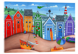 Vetro acrilico  Beach hut rainbow scene - Peter Adderley