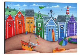 Alluminio Dibond  Beach hut rainbow scene - Peter Adderley