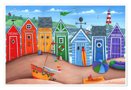 Poster Premium  Beach hut rainbow scene - Peter Adderley