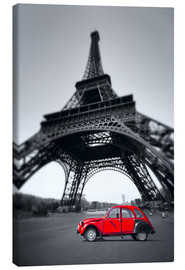 Stampa su tela  Vintage red car stands on the Champ de Mars