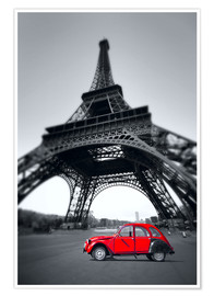 Poster  Vintage red car stands on the Champ de Mars