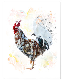 Poster Premium  Digital painting of a colorful rooster
