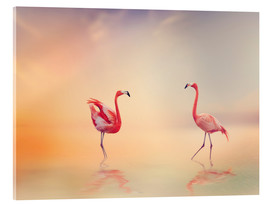 Stampa su vetro acrilico  Two Flamingoes in The Lake at Sunset