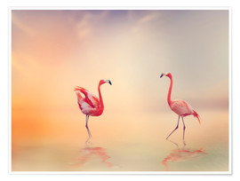 Poster Premium  Two Flamingoes in The Lake at Sunset