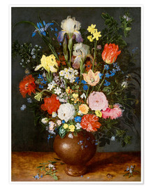 Poster Premium Bouquet of flowers in clay vase