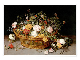 Poster Premium A Basket of Flowers