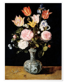 Poster Premium Flowers in a Chinese Vase