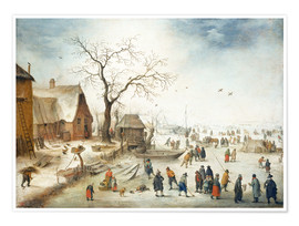Poster Premium Village in winter with farmers on the ice