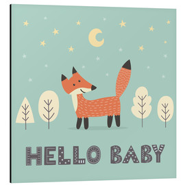 Stampa su alluminio  A little fox is standing in the forest - Kidz Collection