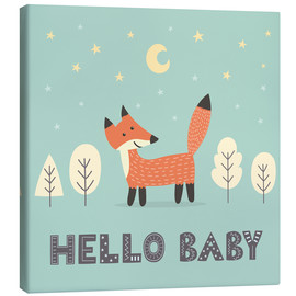 Stampa su tela  A little fox is standing in the forest - Kidz Collection