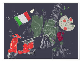 Poster Premium  Let's go to Italy!