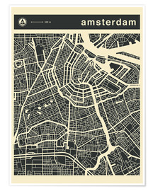 Poster Premium  AMSTERDAM CITY MAP - Jazzberry Blue