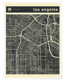 Poster Premium  Los Angeles City map - Jazzberry Blue