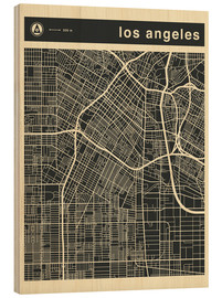 Stampa su legno  Los Angeles City map - Jazzberry Blue