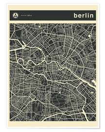 Poster Premium  Berlin City Map - Jazzberry Blue