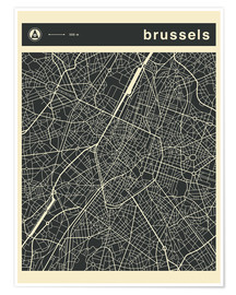 Poster Premium BRUSSELS CITY MAP