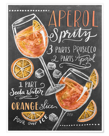 Poster Premium  Ricetta Aperol Spritz (in inglese) - Lily & Val