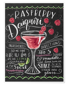 Poster Premium  Ricetta Daiquiri alle fragole (in inglese) - Lily & Val