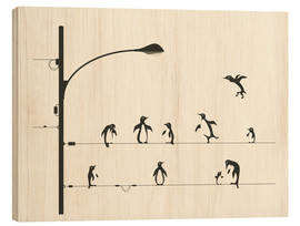 Stampa su legno  PENGUINS ON A WIRE - Jazzberry Blue