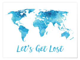 Poster World MapLGL Watercolor Blue18x24