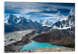 Vetro acrilico  Mountains with lake in the Himalayas, Nepal