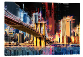 Stampa su vetro acrilico  New York mit Brooklyn Bridge - Peter Roder