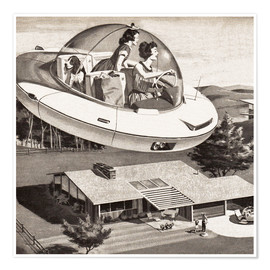 Poster Premium  Woman Driving Flying Saucer