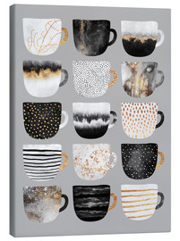Tela  Pretty Coffee Cups 3   Grey - Elisabeth Fredriksson