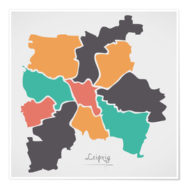Poster Premium  Leipzig city map modern abstract with round shapes - Ingo Menhard