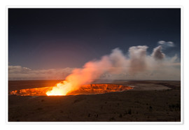 Poster Premium  Active Kilauea Volcano under starry Sky, Big Island, Hawaii - Markus Ulrich