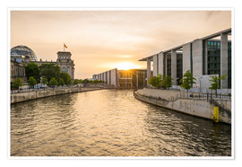 Poster Premium Sunset at the Reichstag in Berlin